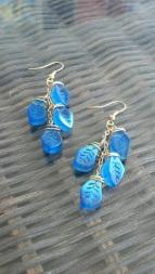 Blue Falling Leaves Earrings