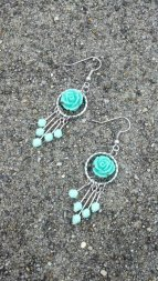 Turquoise Rose Dangle Earrings