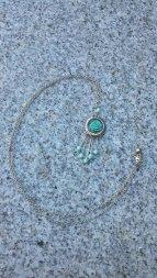 Turquoise Rose Tassel Pendant Necklace