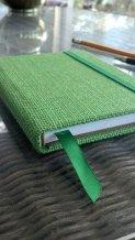 green burlap journal close up